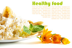 Healthy breakfast. cottage cheese with sour cream Stock Images