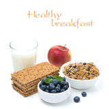 Healthy breakfast - crisp bread, apple, fresh blueberries, milk Stock Photography