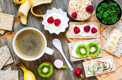 Healthy breakfast with crispbread, berries, yogurt and cress Stock Photography