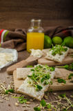 Healthy breakfast, Crispbread with organic cream cheese Stock Photos