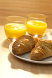 Healthy Breakfast of Croissant and Orange Juice Stock Photography