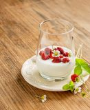 Healthy breakfast cup of fresh milk yoghurt with Stock Images