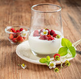 Healthy breakfast cup of fresh milk yoghurt with Royalty Free Stock Photos