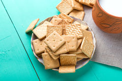 Healthy breakfast cup of milk and crackers, close up, top vew Royalty Free Stock Photography