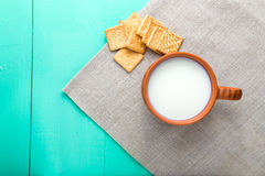 Healthy breakfast cup of milk and crackers, top view Royalty Free Stock Photos