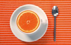 Healthy breakfast cup of orange instead caffeine. Natural food Royalty Free Stock Photos