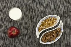Healthy breakfast, diet meal of cereal, fruit and nuts Royalty Free Stock Photography