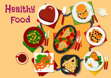 Healthy breakfast dishes icon for festive menu. Breakfast dishes icon with poached egg, chicken with tomato and beans, greek salad, chocolate cake heart, brussel Stock Images