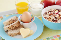 Healthy breakfast with egg, bread, cheese, yoghurt and cereals. Healthy breakfast with oat flakes, raisins, almonds, nuts, dried apples, egg, wholemeal bread Stock Image