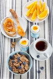 Healthy breakfast with egg and cornflakes Royalty Free Stock Images