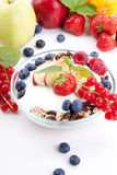 Healthy breakfast with flakes fruits  Stock Image