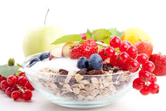 Healthy breakfast with flakes fruits  Royalty Free Stock Photos