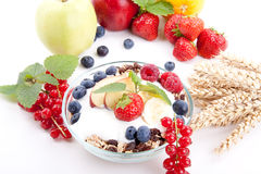 Healthy breakfast with flakes fruits  Royalty Free Stock Photo