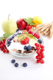 Healthy breakfast with flakes fruits  Stock Photo