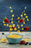 Healthy breakfast with flying corn flakes, strawberries and blue Royalty Free Stock Photo