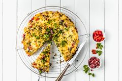 Healthy breakfast food, Stuffed egg omelett. E with vegetable and bacon stock photography