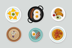Healthy breakfast food top view vector illustration. Royalty Free Stock Photo