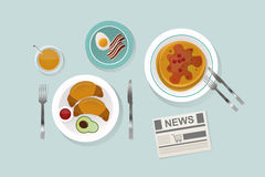 Healthy breakfast food top view vector illustration. Royalty Free Stock Image