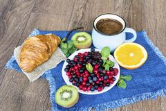 Healthy breakfast. French Croissant ,Coffee and  Berries. Healthy Breakfast with forest fruits,coffee and french croissant Stock Photos