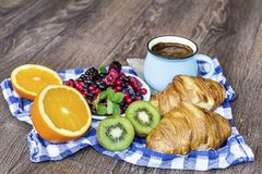 Healthy breakfast. French Croissant ,Coffee and  Berries. Healthy Breakfast with forest fruits,coffee and french croissant Royalty Free Stock Photos