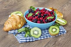 Healthy breakfast. French Croissant and  Berries. Healthy Breakfast with forest fruits and french croissant Royalty Free Stock Photography