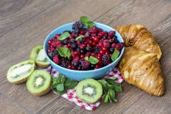 Healthy breakfast. French Croissant and  Berries. Healthy Breakfast with forest fruits and french croissant Stock Images
