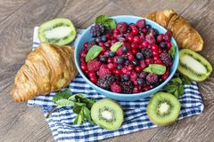 Healthy breakfast. French Croissant and  Berries. Healthy Breakfast with forest fruits and french croissant Stock Photos