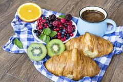 Healthy breakfast. French Croissant ,Coffee and  Berries. Healthy Breakfast with forest fruits,coffee and french croissant Stock Photography