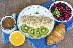 Healthy breakfast. French Croissant ,Coffee and  Berries. Healthy Breakfast with forest fruits,coffee and french croissant Stock Photo
