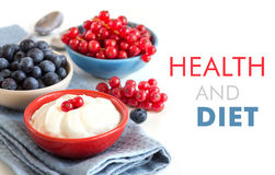 Healthy breakfast  - Fresh berries and natural yogurt or sour Royalty Free Stock Images