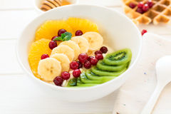 Healthy breakfast: fresh cottage cheese with orange,banana, kiwi, cranberry and honey Stock Photos