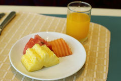 Healthy breakfast, Fresh fruits and orange juice Royalty Free Stock Photo