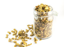 Healthy breakfast. Fresh granola, muesli in a glass jar. Organic oat,almond and sunflower seeds Royalty Free Stock Photo