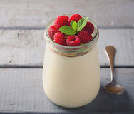Healthy breakfast - fresh Greek yogurt with raspberries and mint Stock Image
