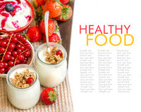 Healthy breakfast with Fresh yogurt, muesli and berries Royalty Free Stock Images