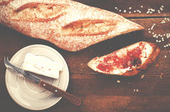 Healthy breakfast. Freshly baked and sliced French baguette with Stock Photography
