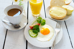 Healthy breakfast: fried egg and apple Stock Images
