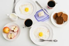 Healthy breakfast: fried egg and rye bread. Stock Photos
