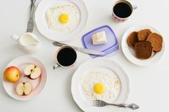 Healthy breakfast: fried egg and rye bread. Stock Photography