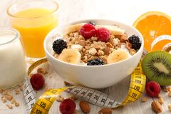 Healthy breakfast with fruit. Healthy breakfast with fresh fruit Stock Photos