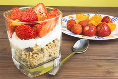 Healthy breakfast with fruit. Homemade yogurt, oatmeal with strawberries, apricots and chocolate. Royalty Free Stock Photography