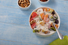 Healthy breakfast of fruit salad closeup Royalty Free Stock Photos