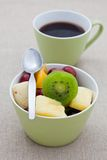 Healthy breakfast of fruit salad and coffee Royalty Free Stock Photos
