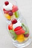 Healthy breakfast of fruit salad with yogurt Stock Photography