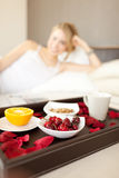 Healthy breakfast, fruits, coffee and cereals Royalty Free Stock Photography