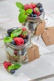 Healthy breakfast with fruits and yogurt Stock Photo