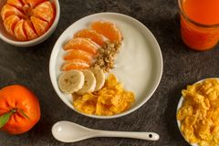 Healthy breakfast with fruits and yogurt royalty free stock images