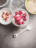 Healthy breakfast in glass jar with yogurt and berries, top view Royalty Free Stock Photos