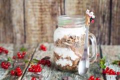 Healthy breakfast in glass mason jars stock photos