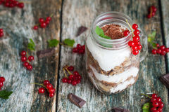 Healthy breakfast in glass mason jars Royalty Free Stock Photography